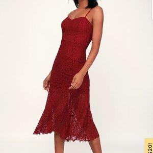 Gypsy Rose Wine Red Lace Midi Dress